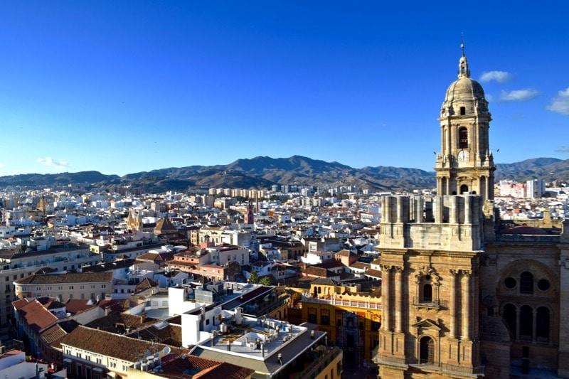 View of Malaga from the roof terrace at AC Hotel Malaga Palacio, Malaga