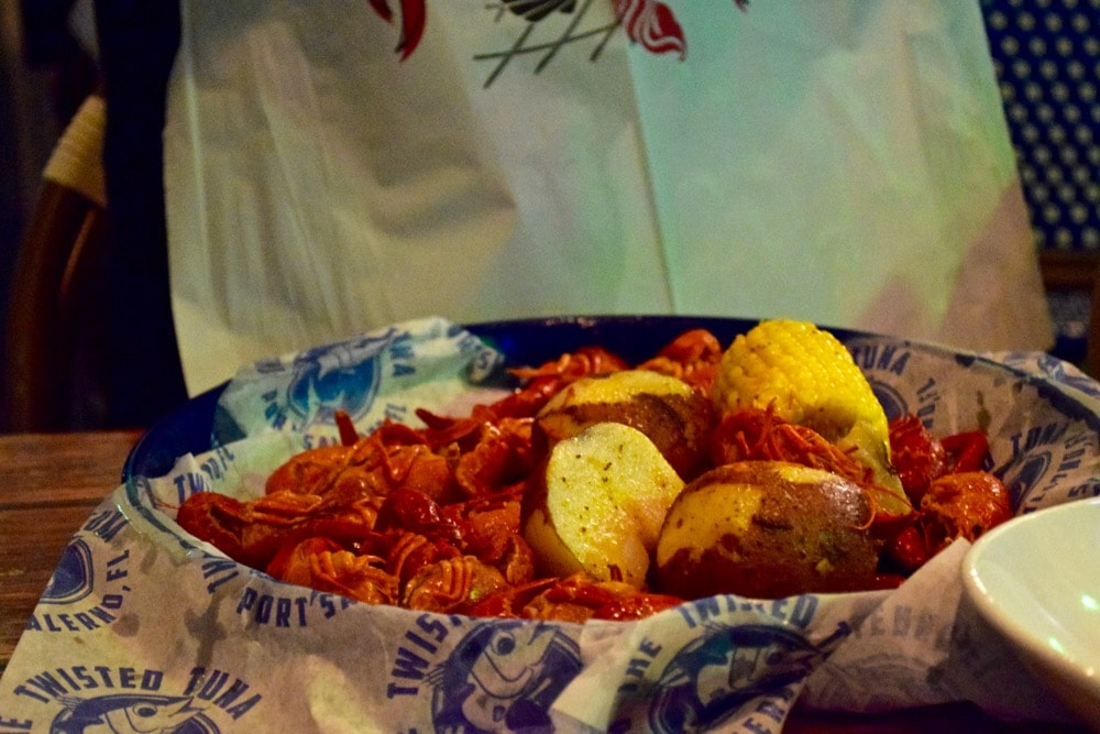 Anyone for some Crawfish?! Dinner at The Twisted Tuna, Port Salerno, Florida