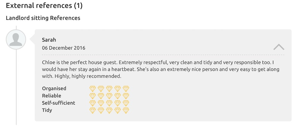 A reference on Trusted Housesitters