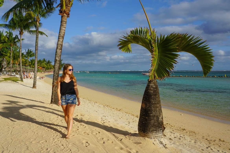 Strolling along the beach at Heritage Le Telfair, Mauritius
