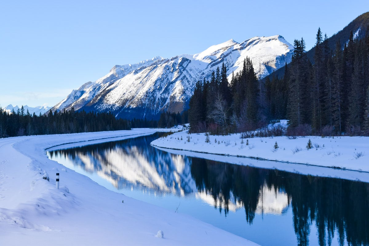 Beautiful mirror reflections on the way to Canmore, Alberta