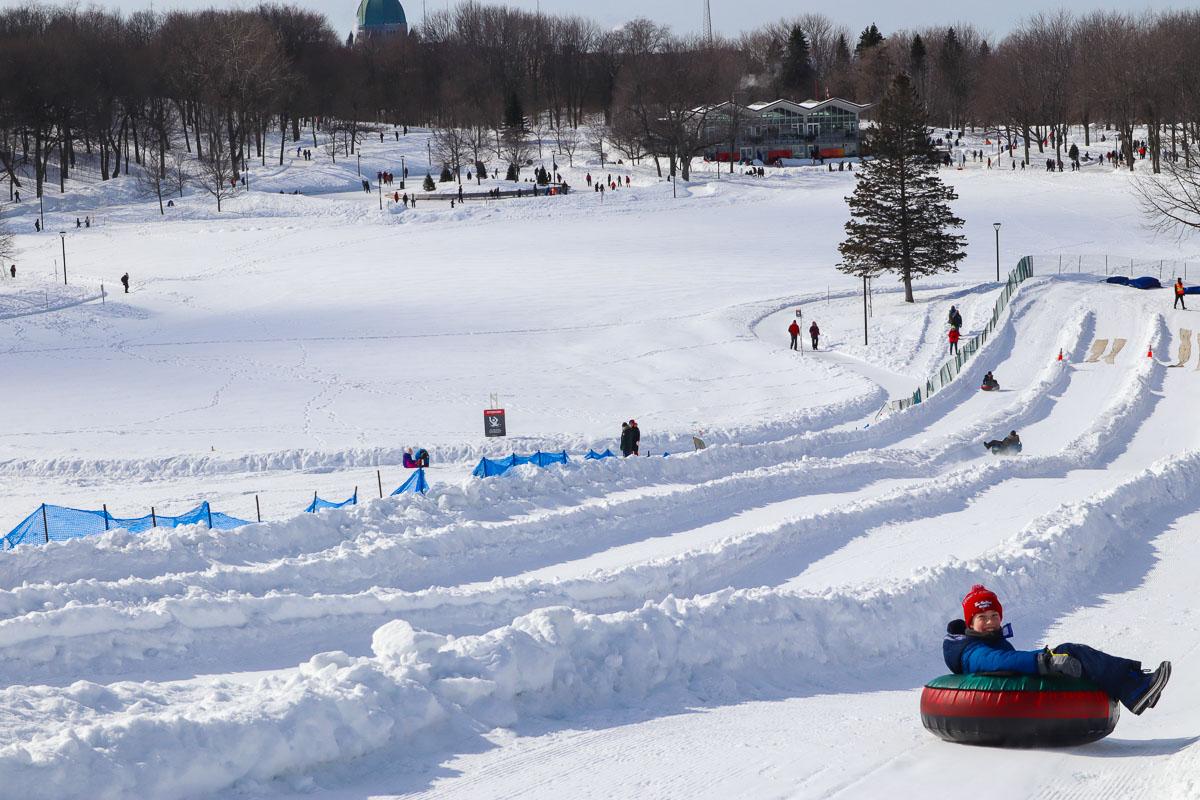 Snow tubing on Mount Royal