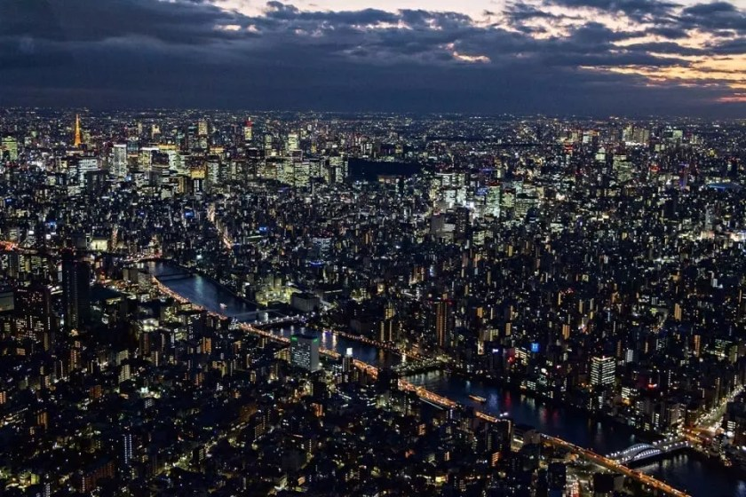 View of Tokyo from Tokyo Skytree at dusk.