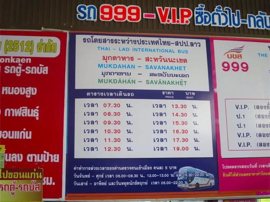 Mukdahan to Savanakhet bus schedule
