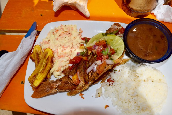 Fried Red Snapper, Plantains, Coleslaw, Red Beans, Coconut Rice