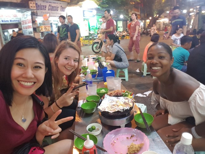 Nina at dinner with Cheryl from Singapore and Jackie from South Africa