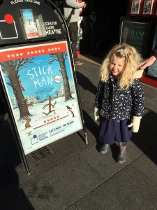 Mrs T outside Stick Man at the Leicester Square theatre