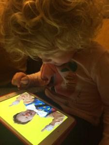 Mrs T playing Mr Tumble gamd on iPad