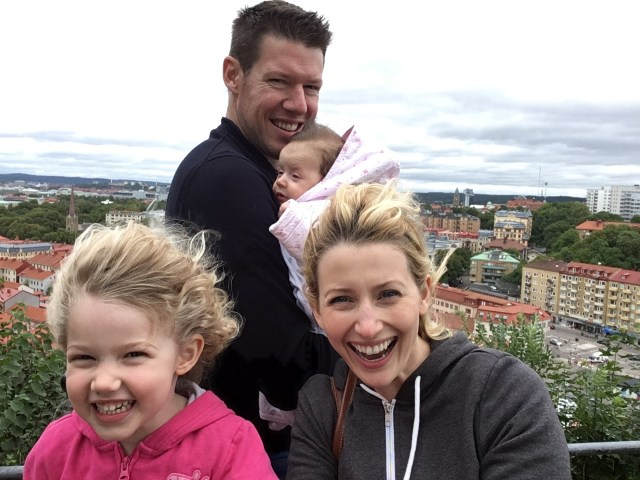 Wander Mum and family at top of the Fortress Skansparken, Gothenburg, Sweden