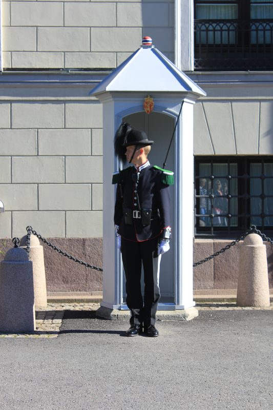 A guard stands to attention at the Royal Palace, Oslo