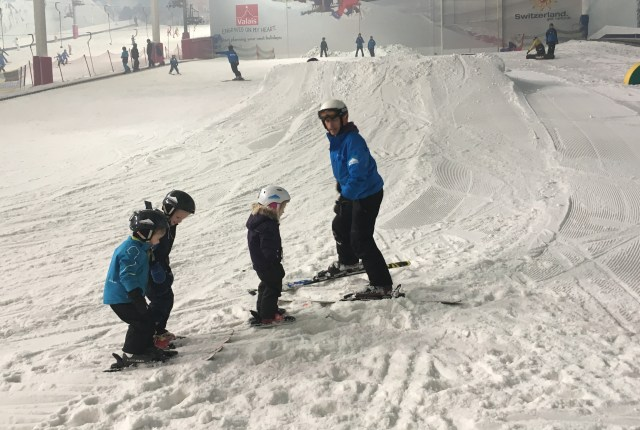 Skiing lesson at the Snow Centre, Hemel Hempstead