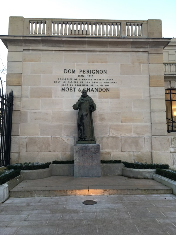 Statue of Dom Perignon outside Moet and Chandon champagne house