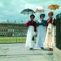 Three women in period costume at the Jane Austen Festival