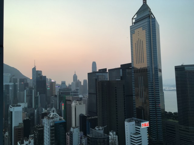 Hong Kong at dusk from roof top bar Wooloomooloo