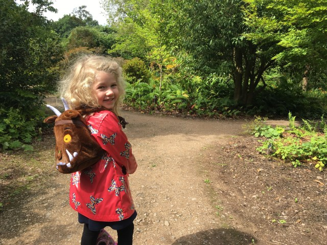 Mrs T with Gruffalo LittleLife day pack, Wisley Gardens