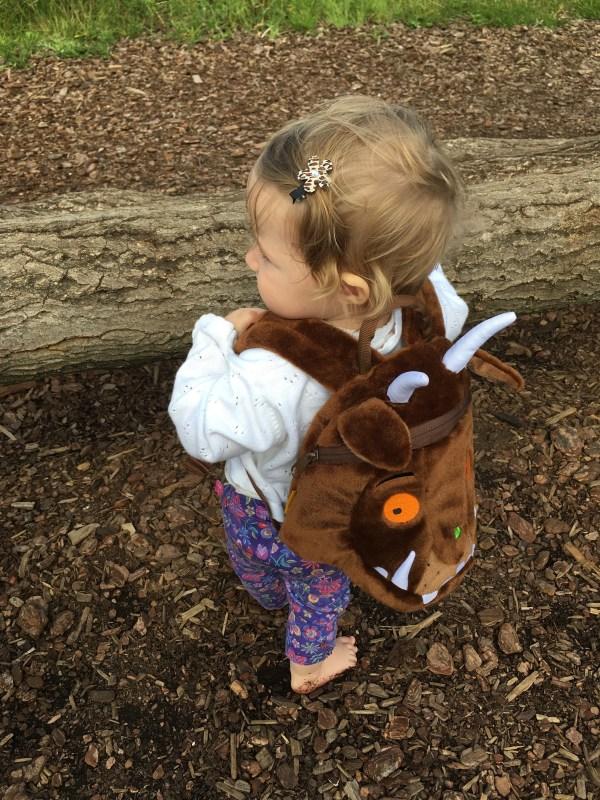 Cheeky wearing Gruffalo LittleLife day pack