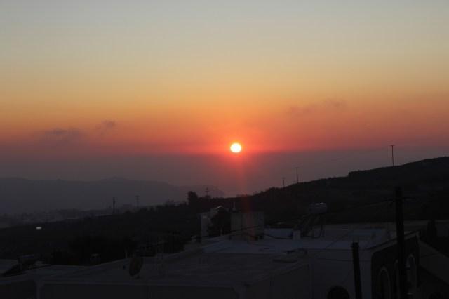 Sunset in Pyrgos, Santorini