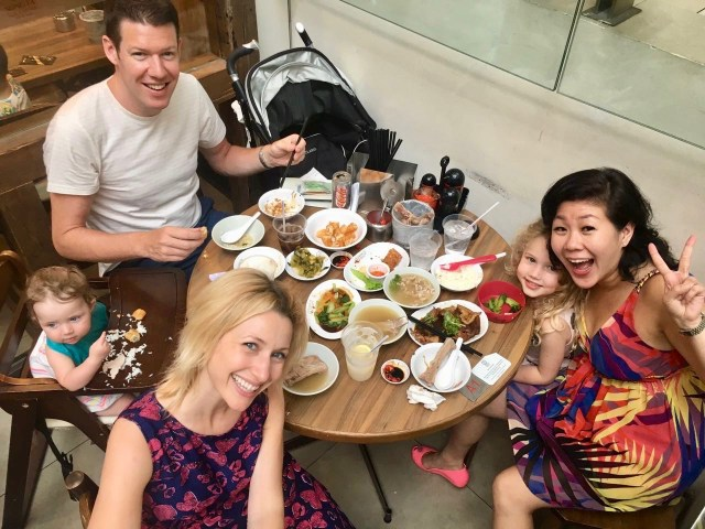 Eating food in Singapore