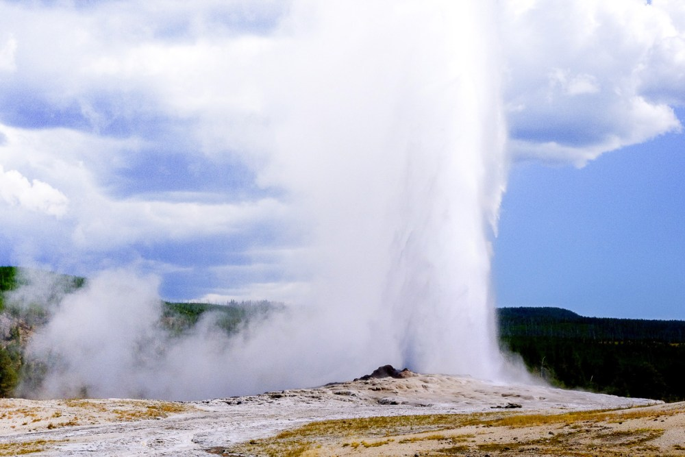 Eruption of one of Yellowstone National Park's geysers