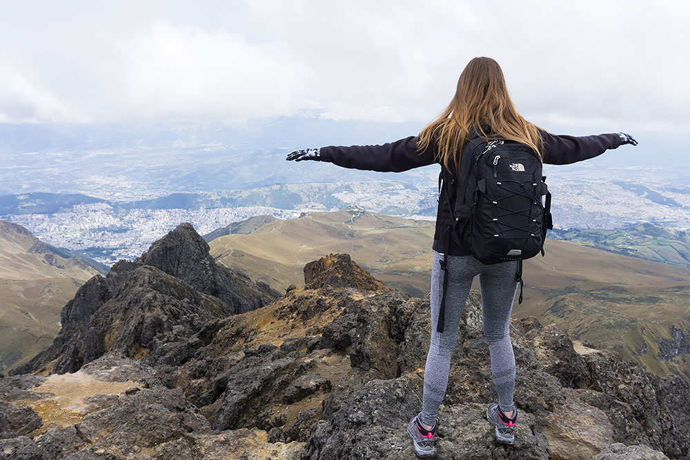 At the summit of the mountain
