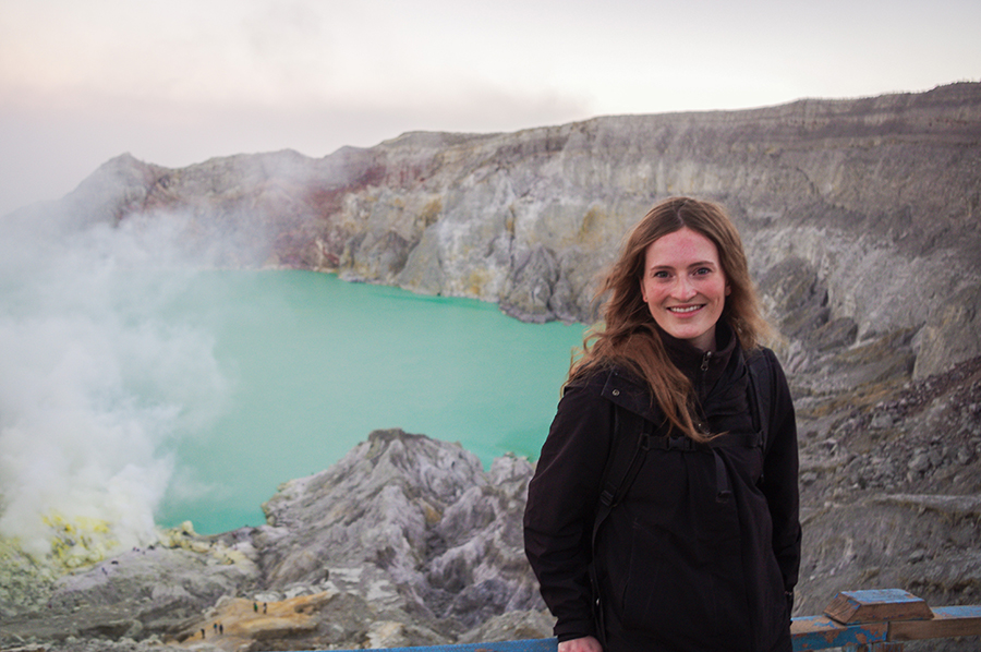 The author, Céline, after hiking up Mount Ijen Volcano.