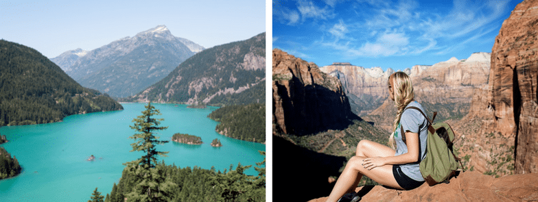 Image of 2 photos of a lake and a trekker