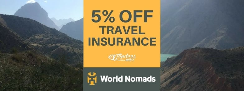 World Nomads 5% discount banner with Wanders Miles