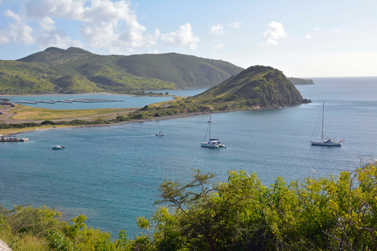 An image of the view overlooking Christopher Harbour in St. Kitts