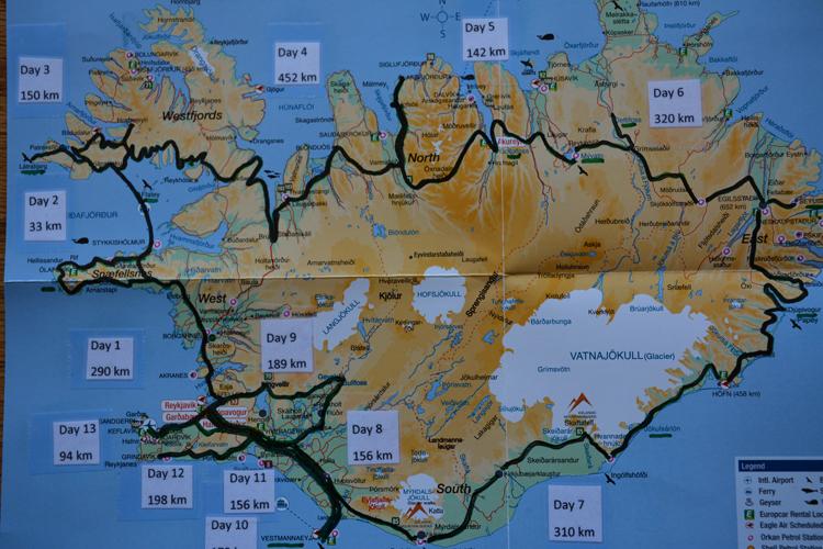 Map of road trip circumnavigating Iceland