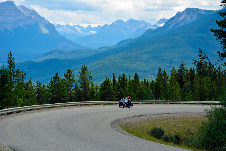 An image of a motorcycle on a road in Jasper National Park