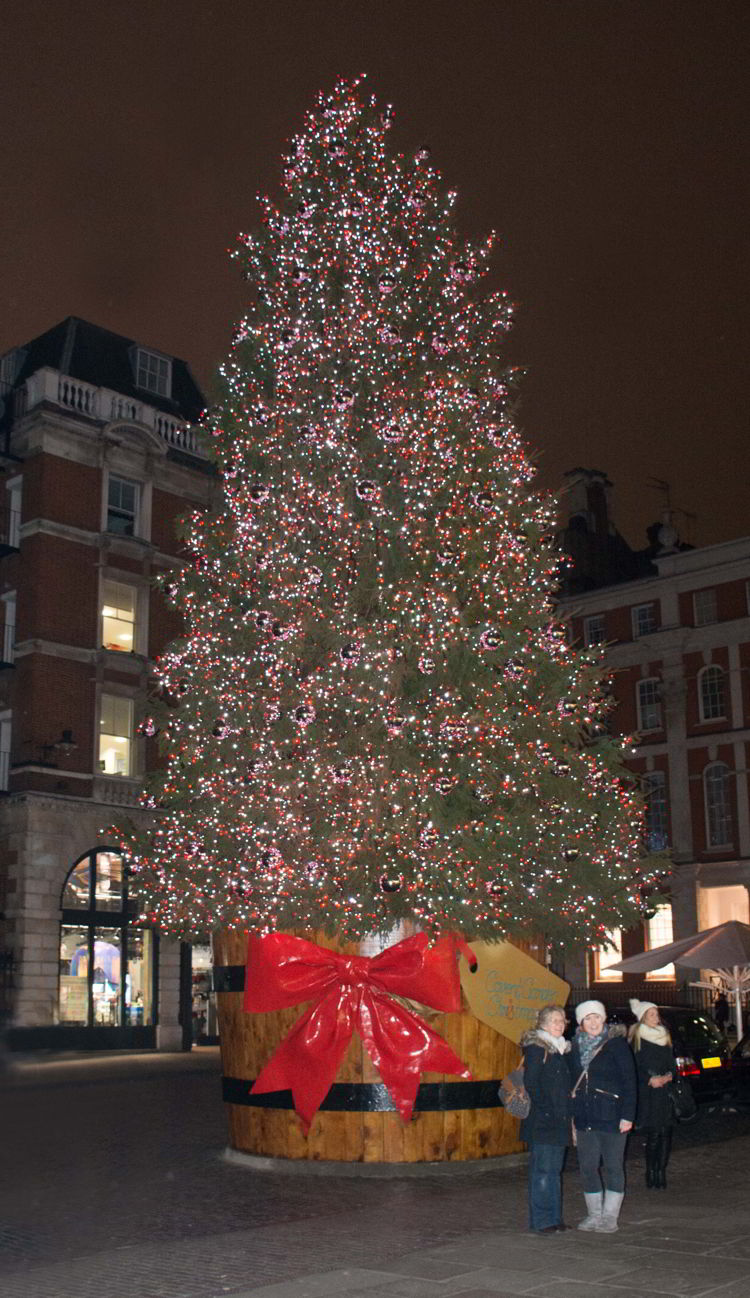 An image of the Covent Garden Christmas tree in London - best Christmas markets