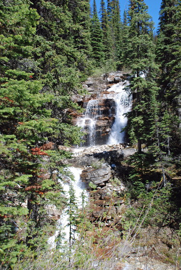 An image of Shadow Lake Falls in the backcountry of Banff National Park - Shadow Lake Lodge