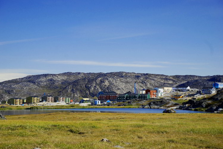 An image of Ilulissat town from a distance - ilulissat Greenland
