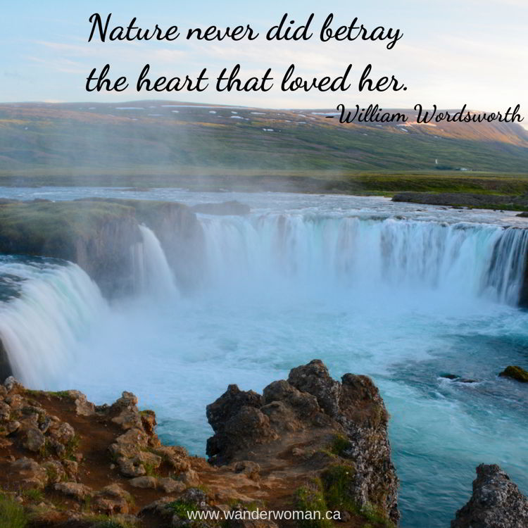 An image of Godafoss Waterfall in Iceland - meaningful quotes about nature - Nature never did betray the heart that loved her. William Wordsworth