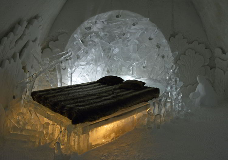 An image of a beaver-themed room at the Hôtel de Glace in Quebec, Canada - Ice Hotel Quebec