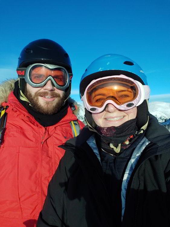 An image of two people in ski helmets and googles at Marmot Basin Ski Resort in Jasper - Jasper Skiing