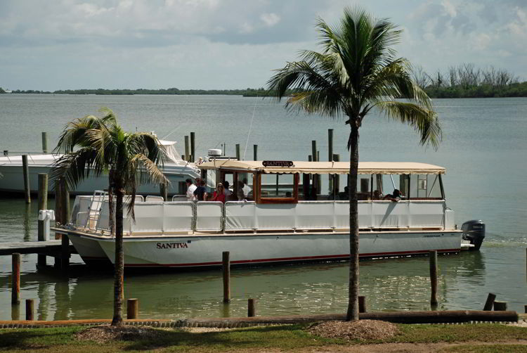 An image of the Captiva Cruise tour boat at Cabbage Key, Florida - cheeseburger in paradise