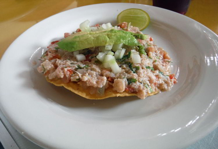 An image of a ceviche tostado from Ceviche El Guero in Puerto Vallarta, Mexico - the best tacos in Puerto Vallarta