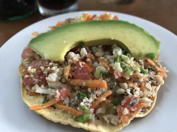 An image of a ceviche tostado at Mariscos El Colera in Puerto Vallarta, Mexico - the best tacos in Puerto Vallarta