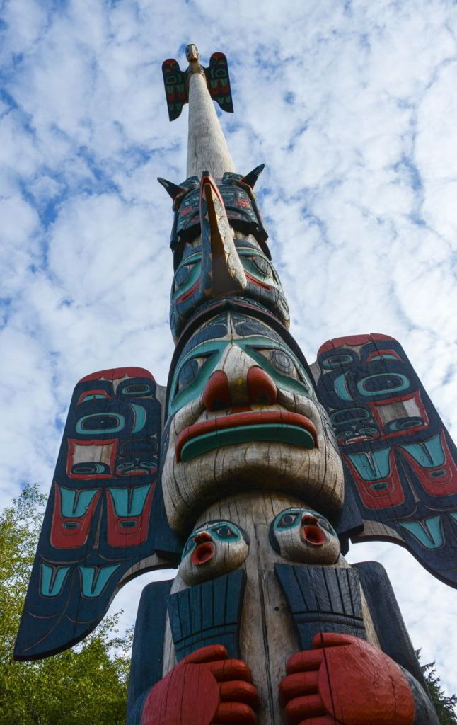 An image of the Chief Johnson Totem Pole in Ketchikan, Alaska - Things to do in Ketchikan