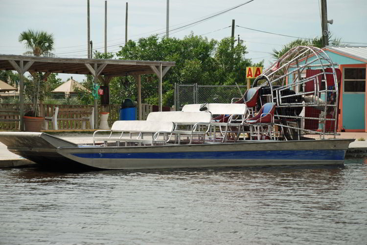 A image of an airboat used to provide tours in the Florida Everglades.