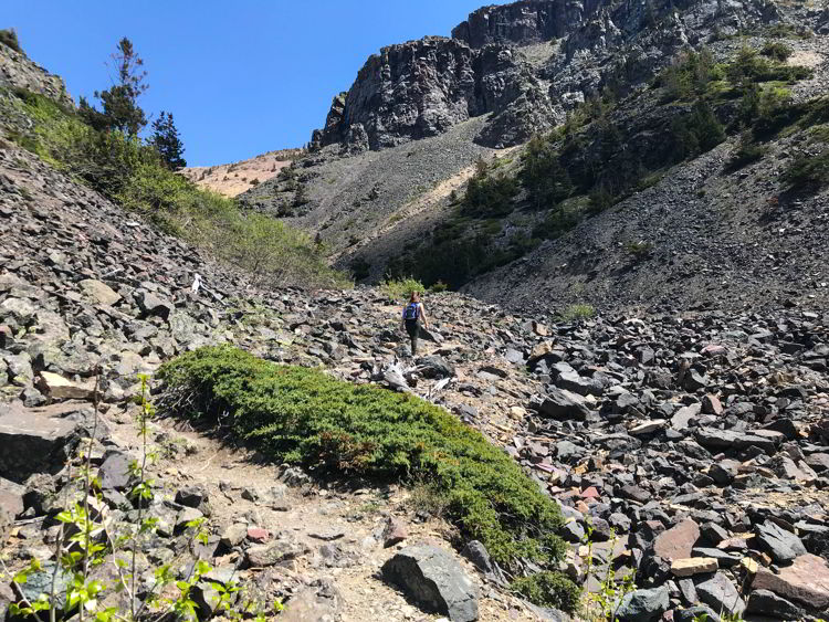 An image of the Table Mountain Alberta Trail where it gets steeper.