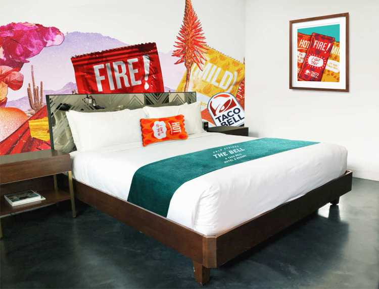 An image of the room design at The Bell Resort, the Taco Bell Hotel in Palm Springs, California.