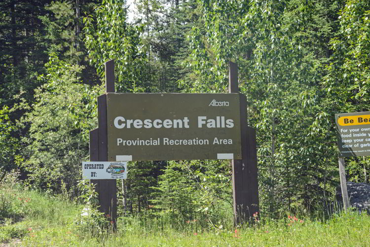 An image of the Crescent Falls Provncial Recreation Area Sign in David Thompson Country, Alberta.