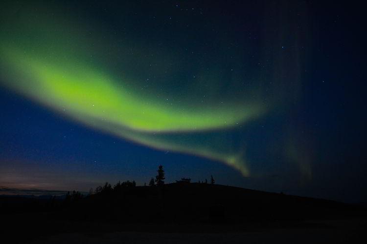 An image of the aurora borealis taken in Dawson City Yukon in August.