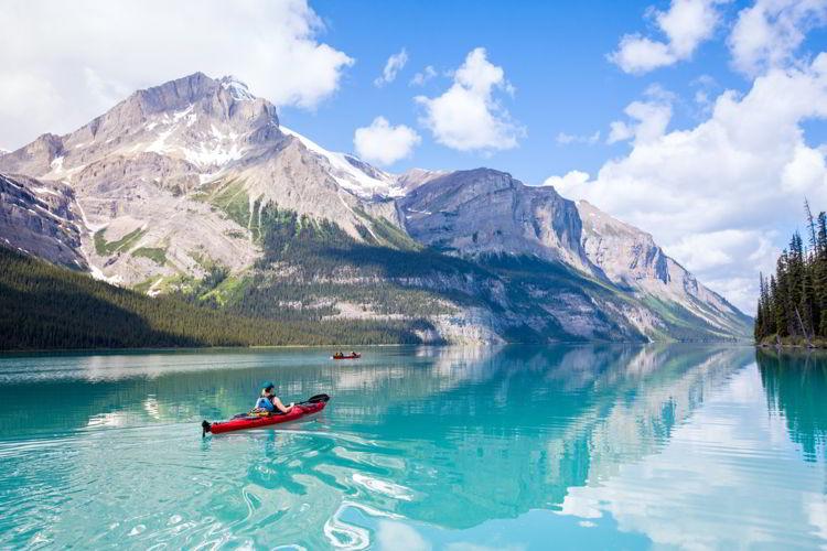 An image of Maligne Lake in Jasper National Park, Alberta Canada.