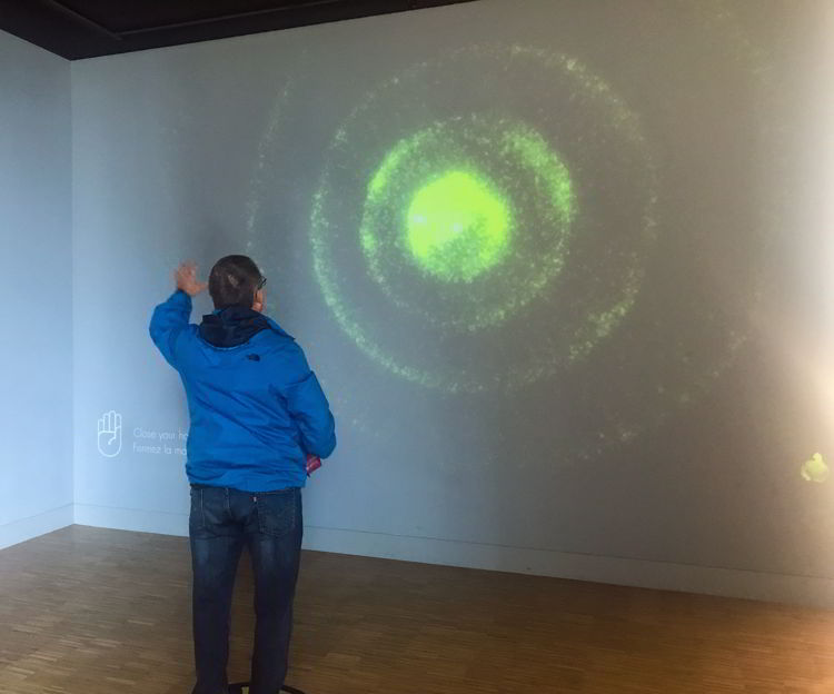 An image of a man in the bodyphonic exhibit at Studio Bell in Calgary, Alberta.