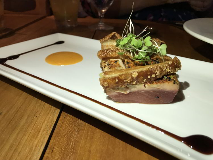An image of the pork belly appetizer at the Mauka Makai restaurant in Kāʻanapali, Maui.