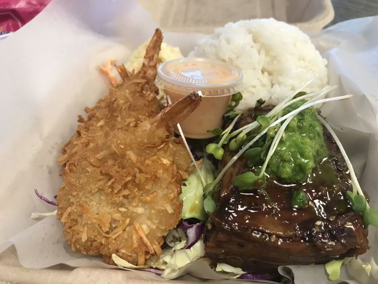 An image of the ribs and coconut shrimp from Joey's Kitchen in Kāʻanapali, Maui.