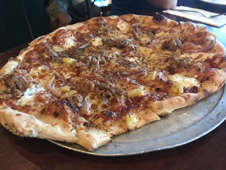 An image of the Hawaiian pizza at the Flatbread Company in Paia, Maui.
